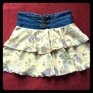 Denim & Ruffle Skirt